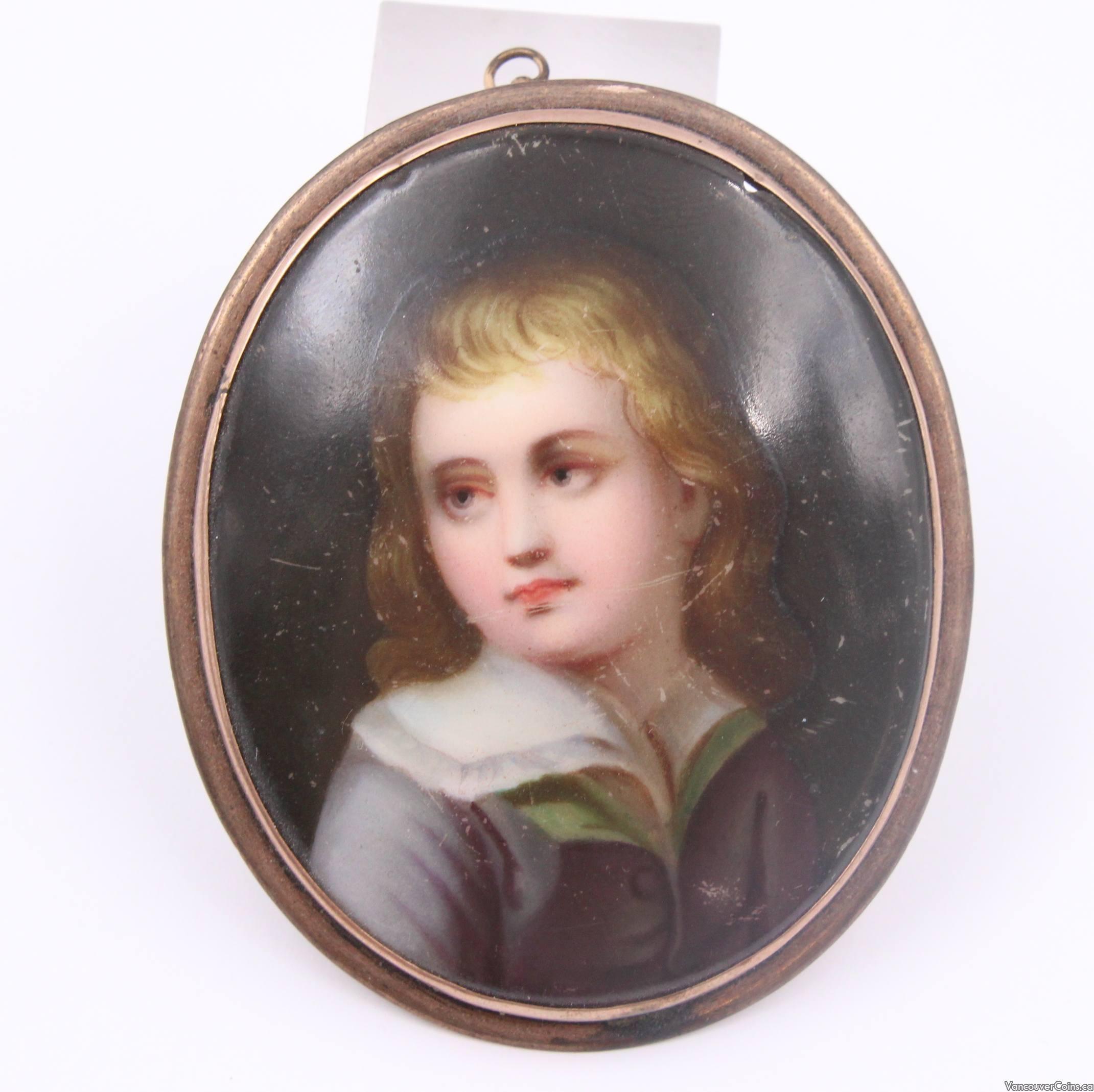 c1800 miniature porcelain painting 10K gold bezel on brass frame
