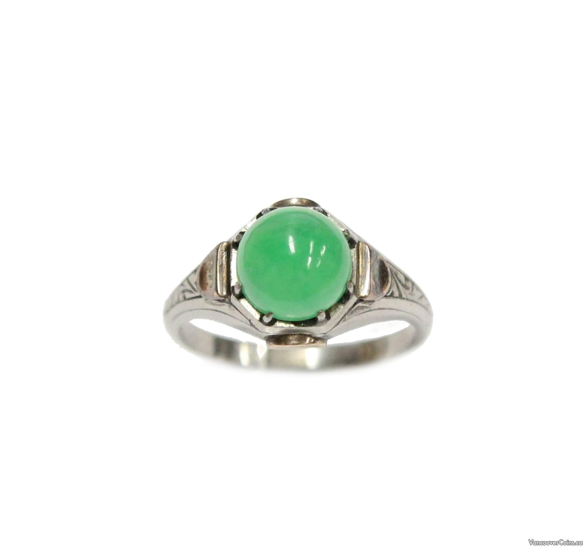 10K Gold Green Jade Cabochon Stone Ring