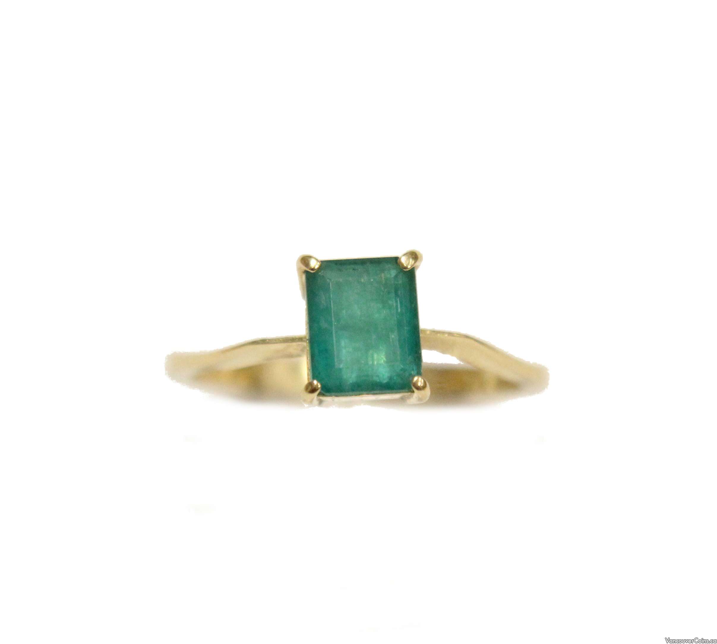 18K Yellow Gold .70 carat Solitaire Emerald Ring