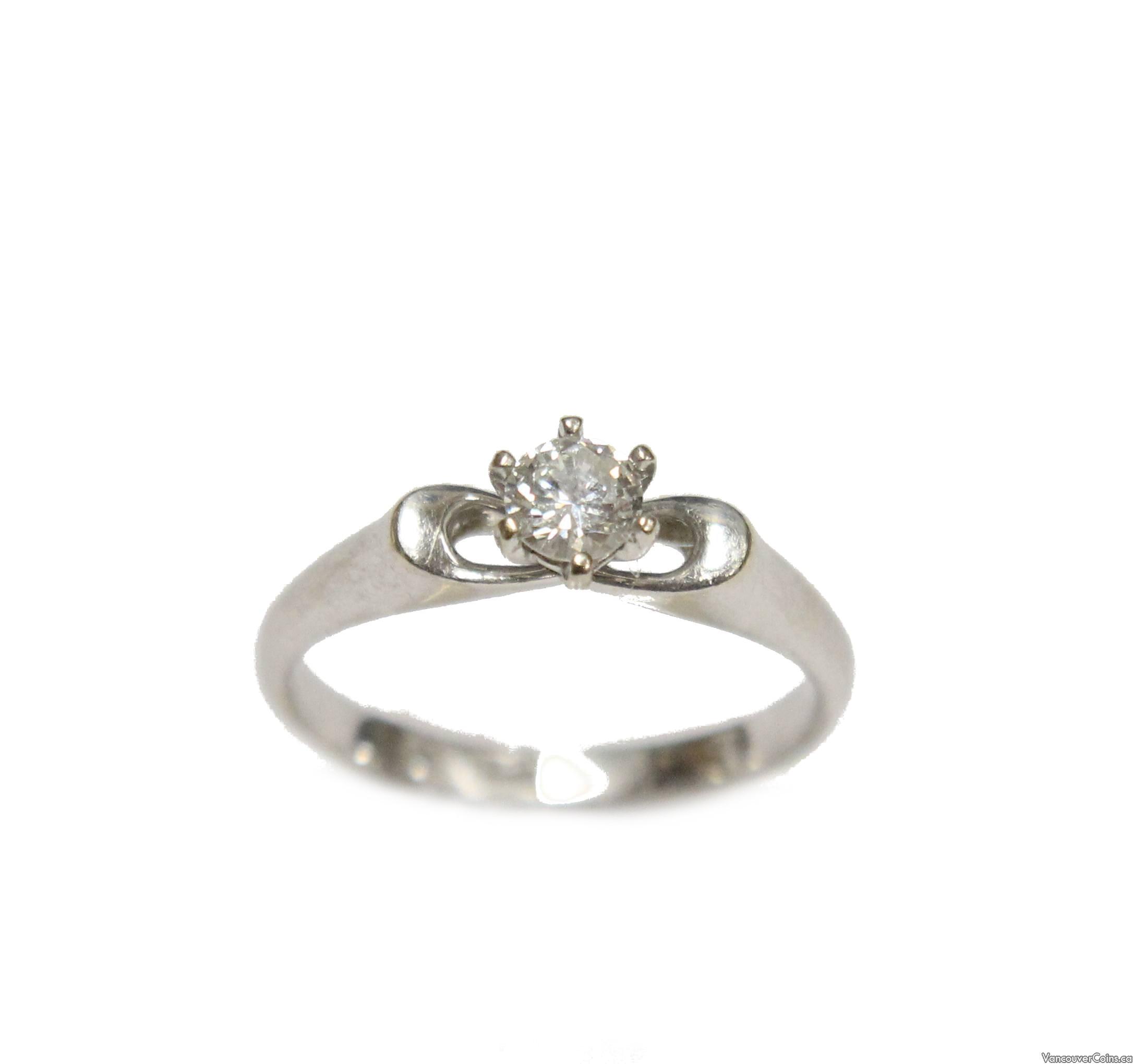 14 Karat White Gold Solitaire .28 ct Diamond Engagement Ring