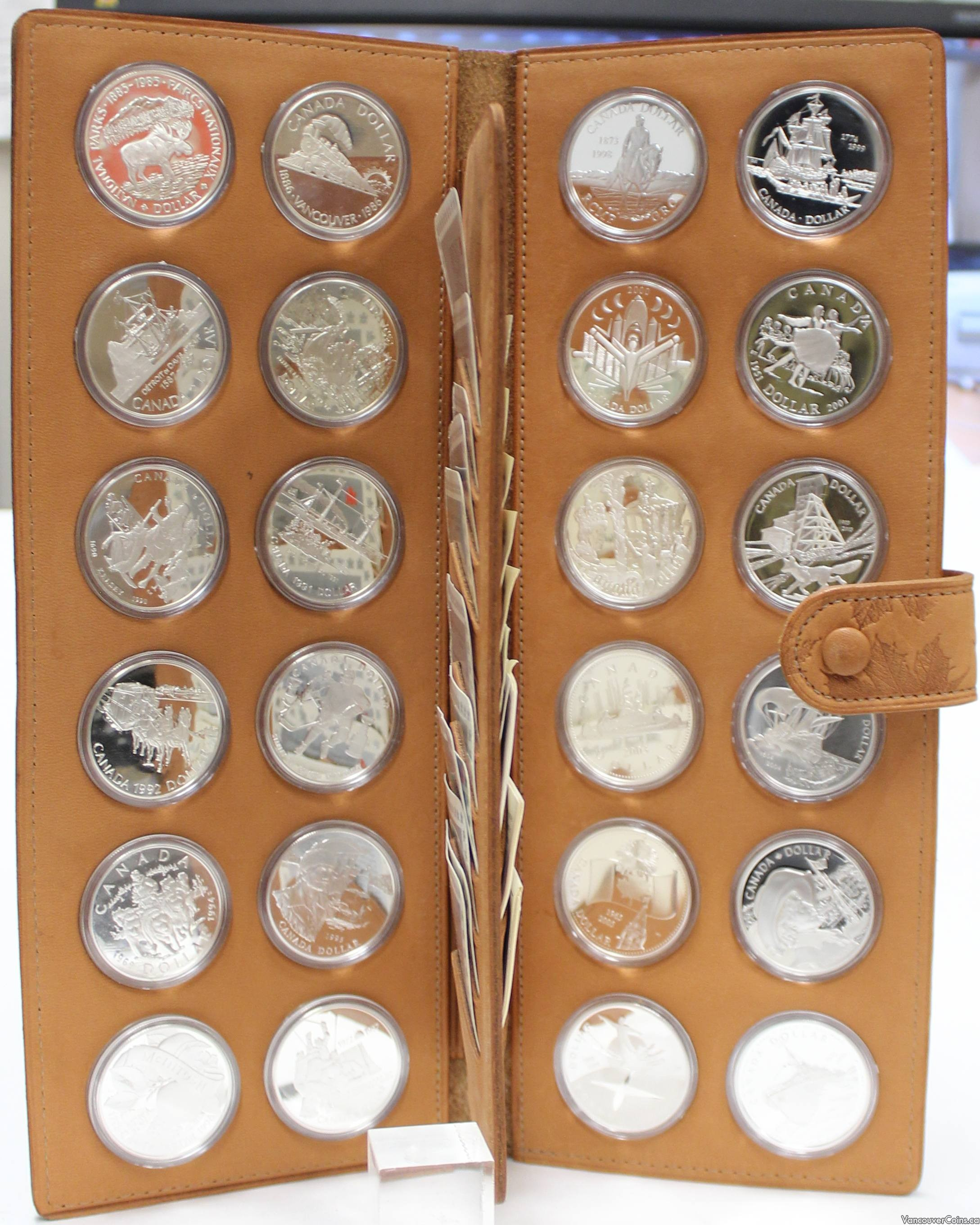 24x Canadian Proof Silver $1 Dollars 1985 to 2010 In RCM Leather Holder