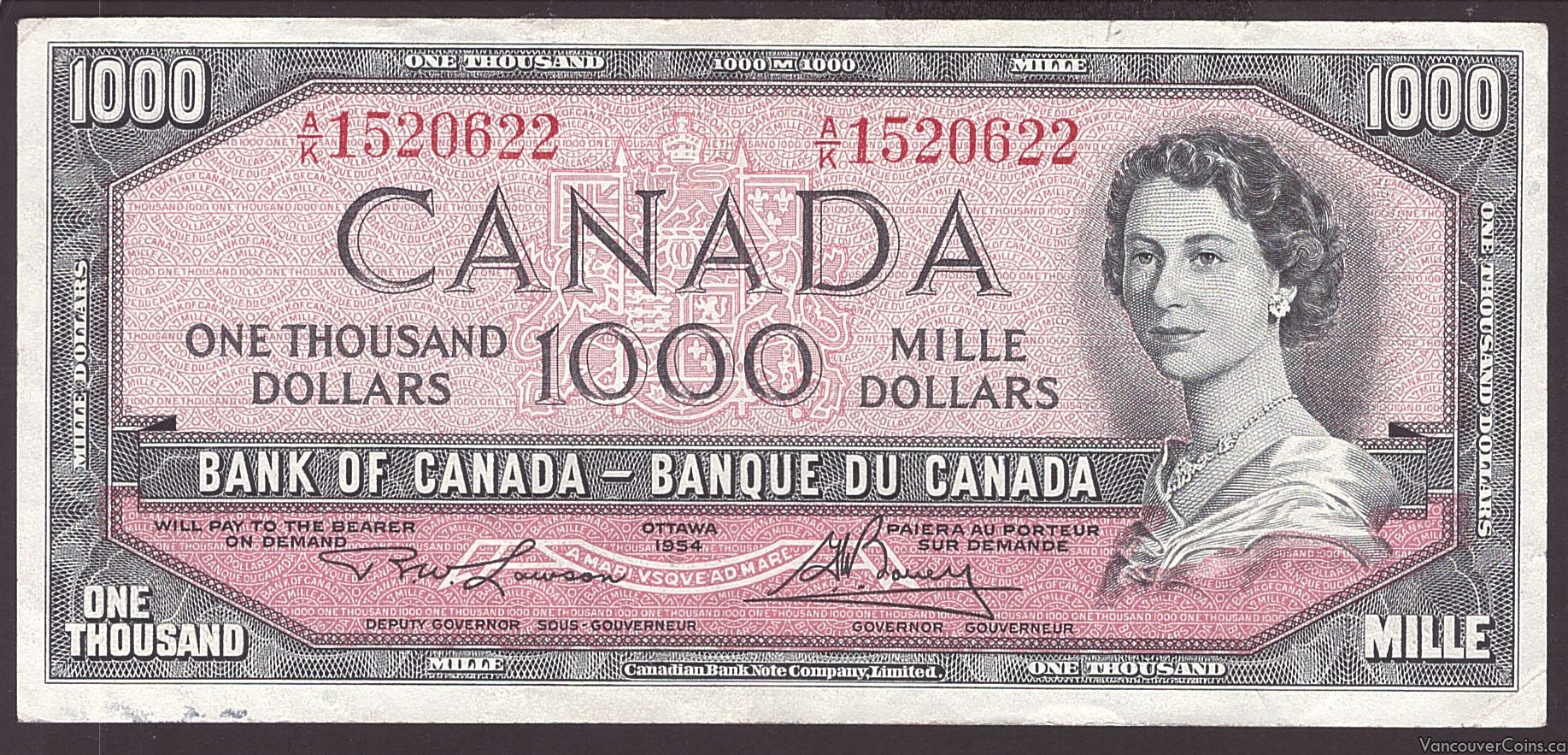 1954 Bank of Canada $1000 banknote Lawson Bouey A/K1520622