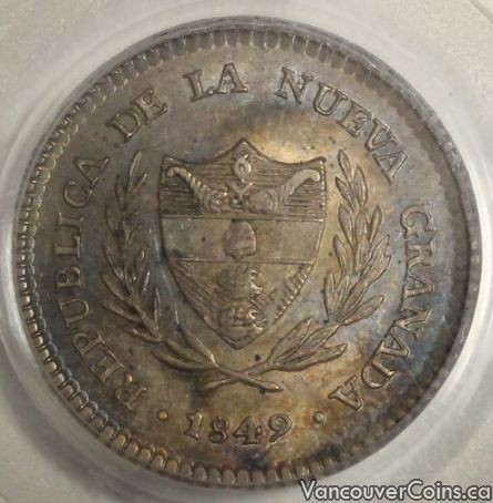1849 Colombia 2 Reales