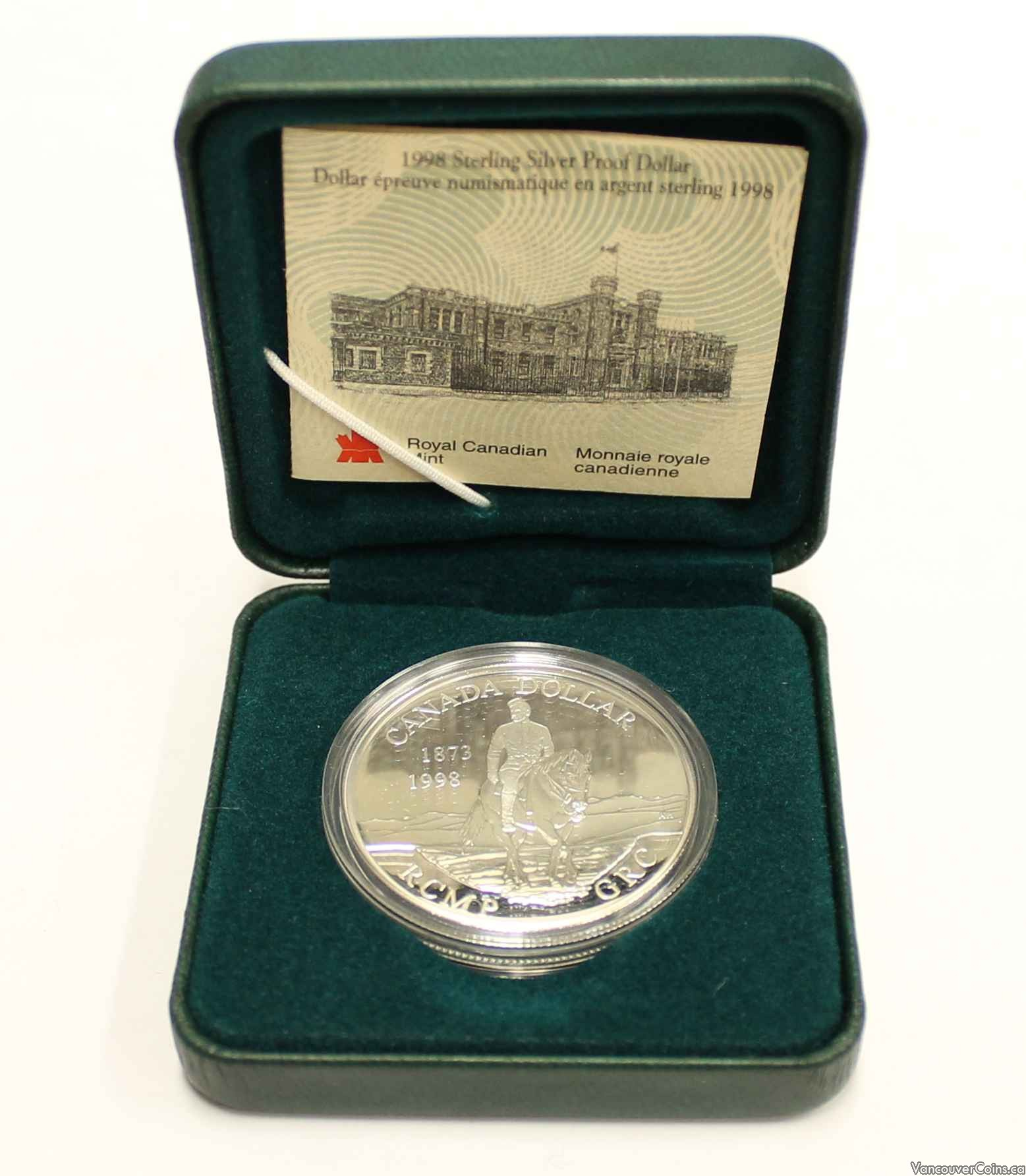 1998 CANADA CASED PROOF SILVER DOLLAR RCMP  MINT IN BOX !.925 STERLING