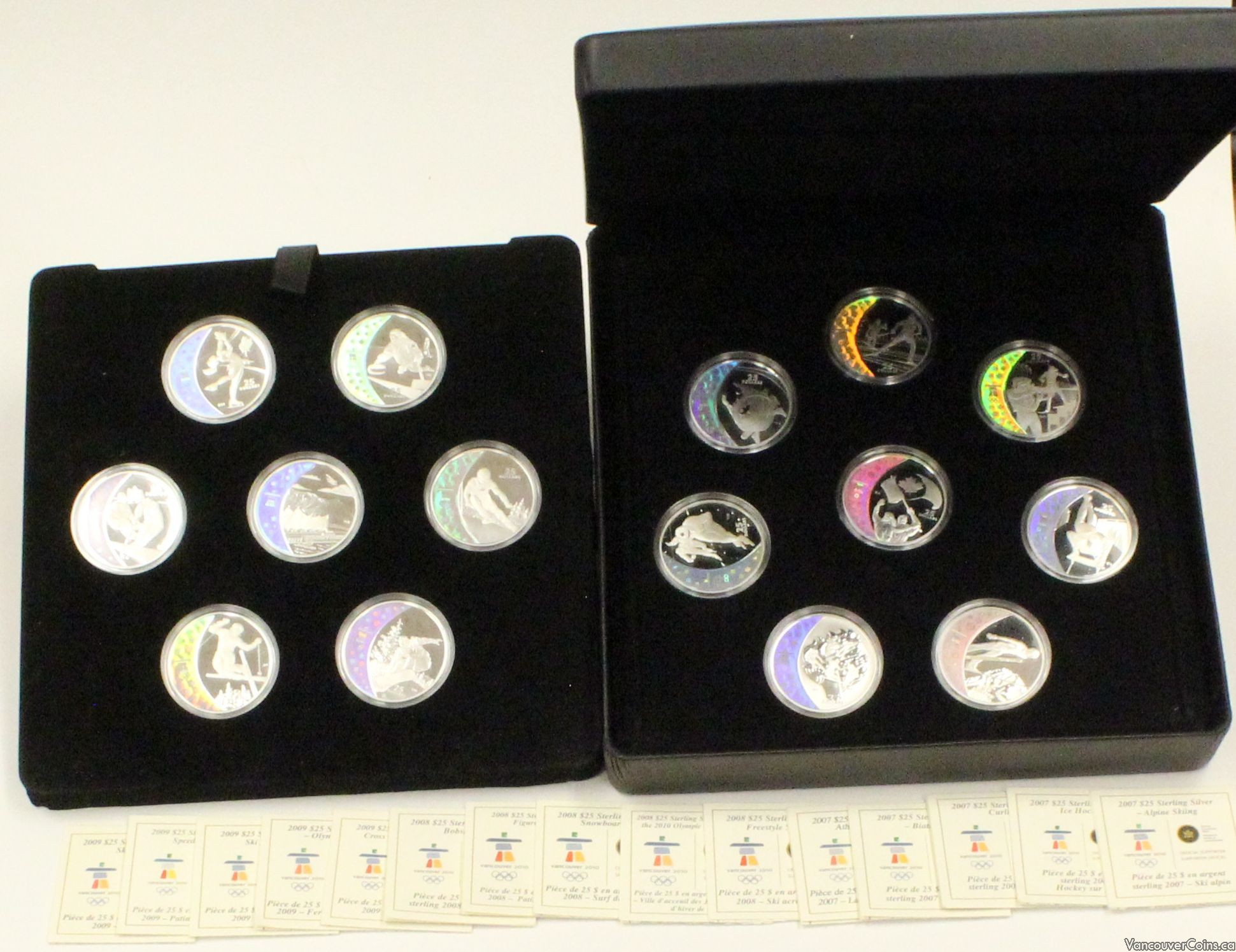1988 Calgary Olympic $20 Proof Silver 2 Coin Set Ski Jumping Bobsled Orig Box