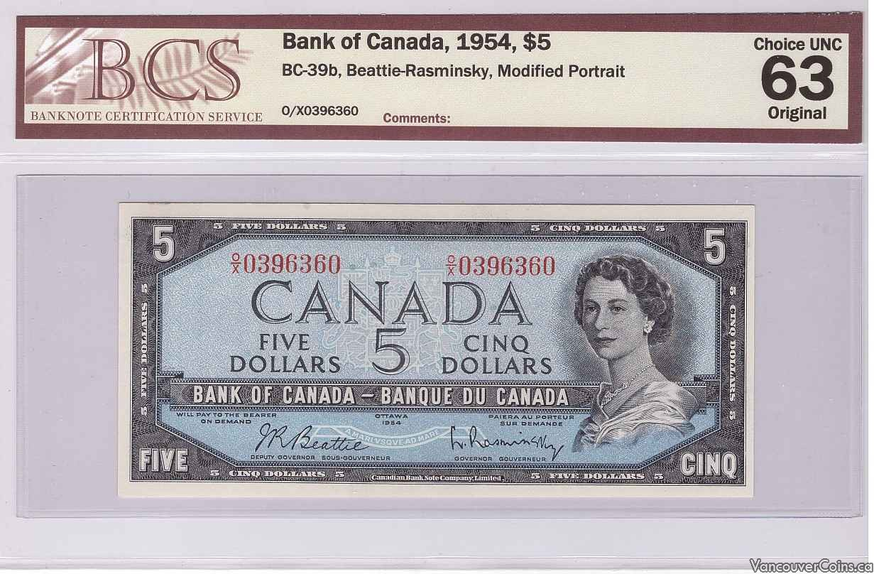 1954 $5.00 CH.UNC-63