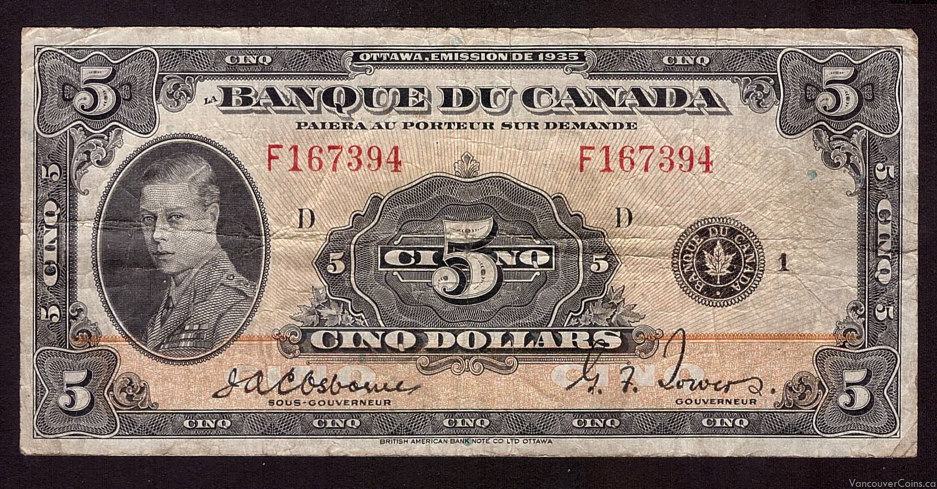1935 Canada $5 banknote French F167394