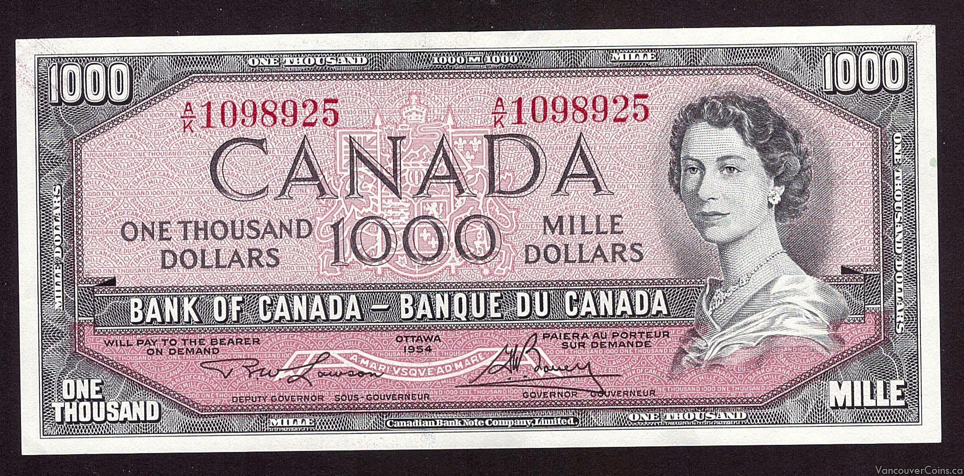 1954 Canada $1000 banknote  A/K1098925  Choice AU55  EPQ