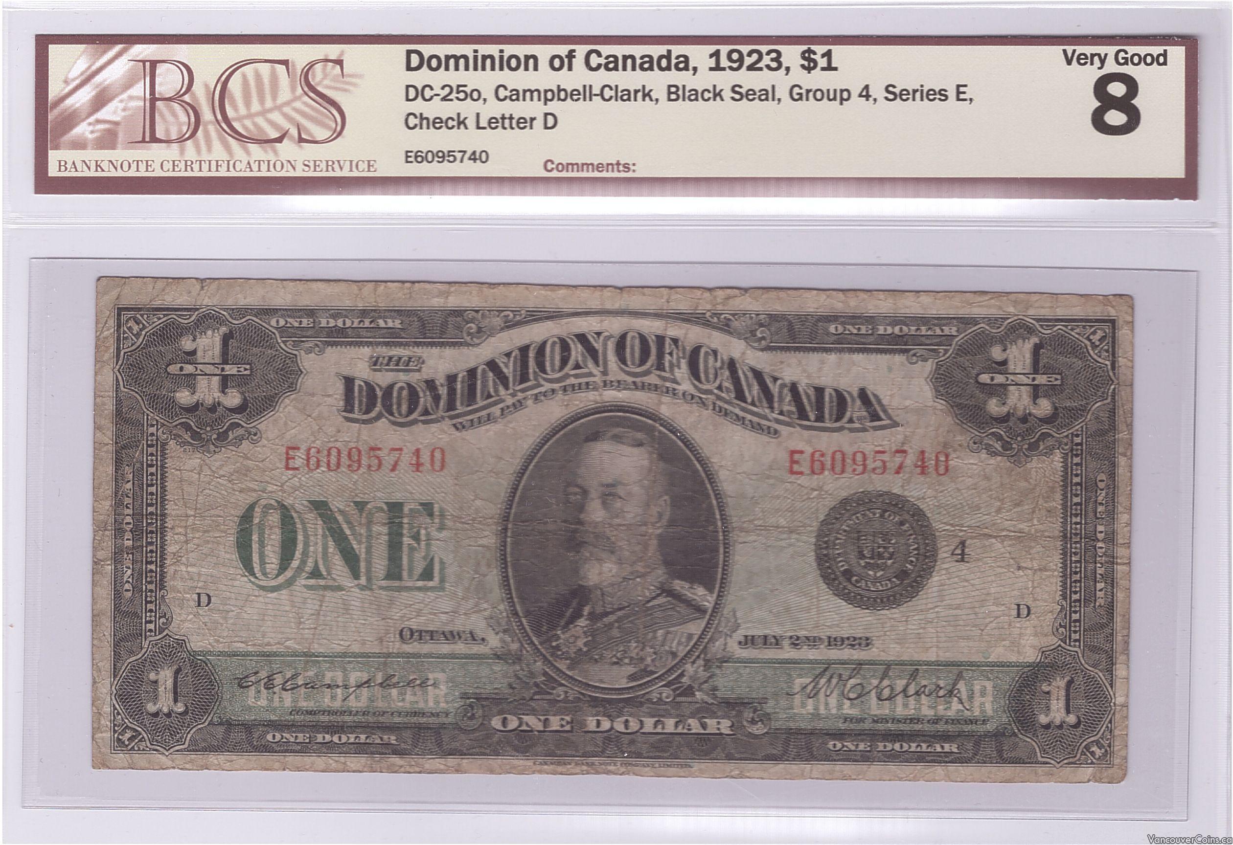 1923 Dominion of Canada $1.00
