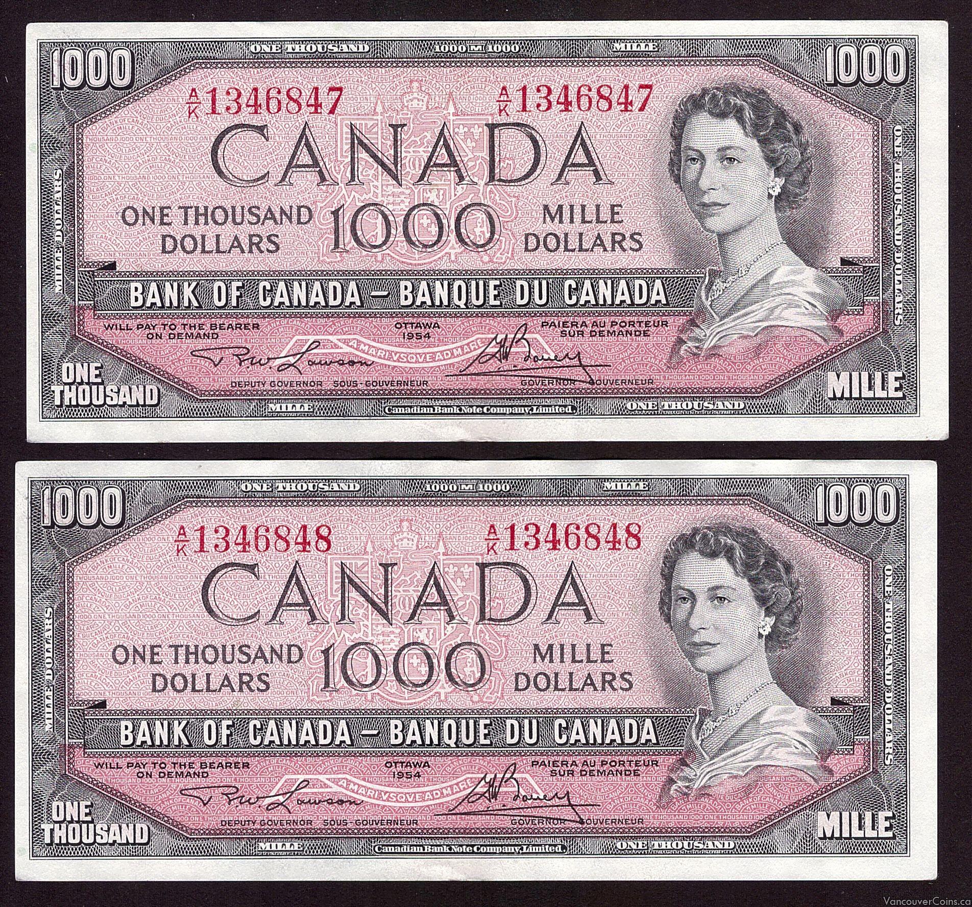 2x 1954 Canada $1000 banknotes AU50 EPQ