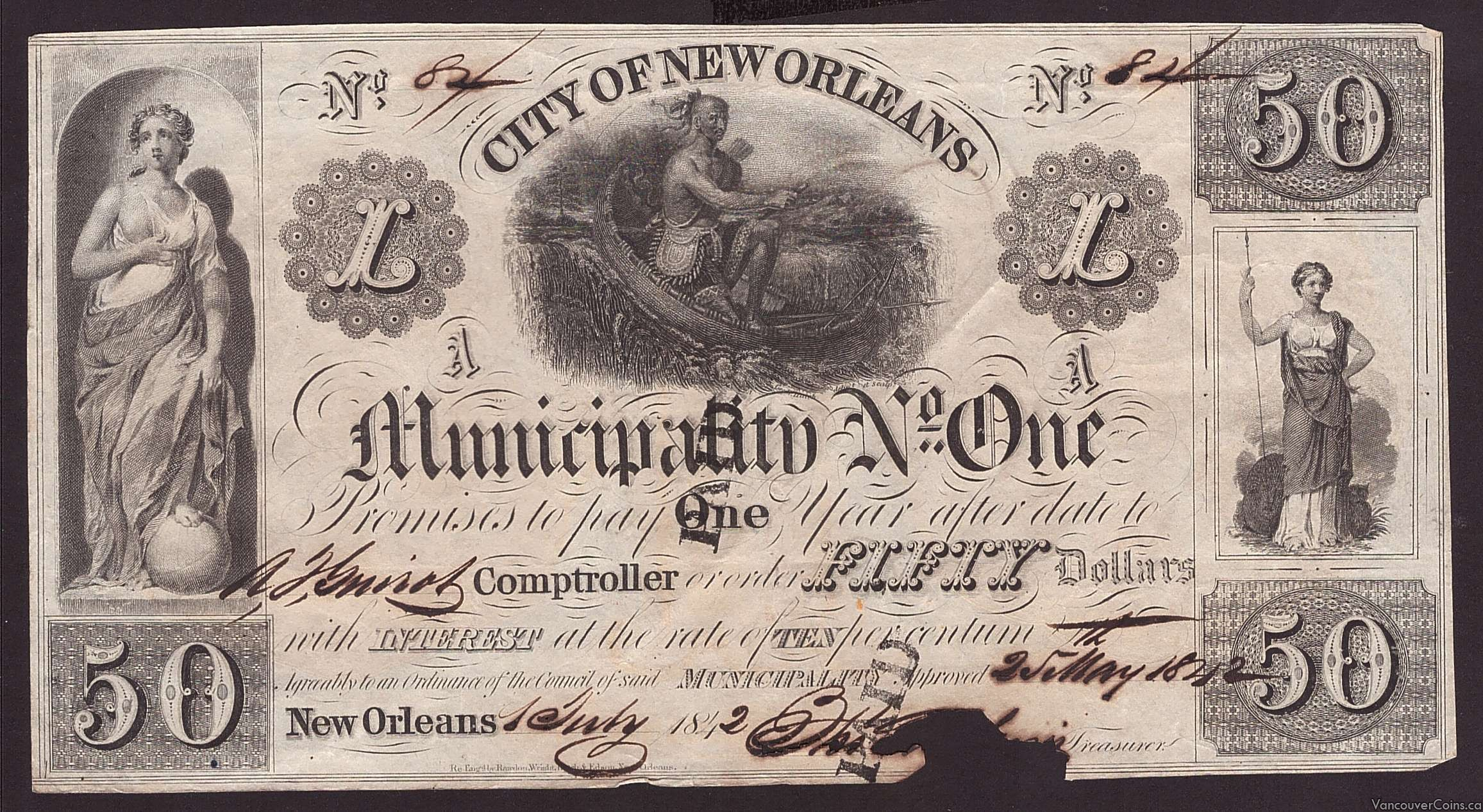 1842 $50 CITY OF NEW ORLEANS No 1 bond