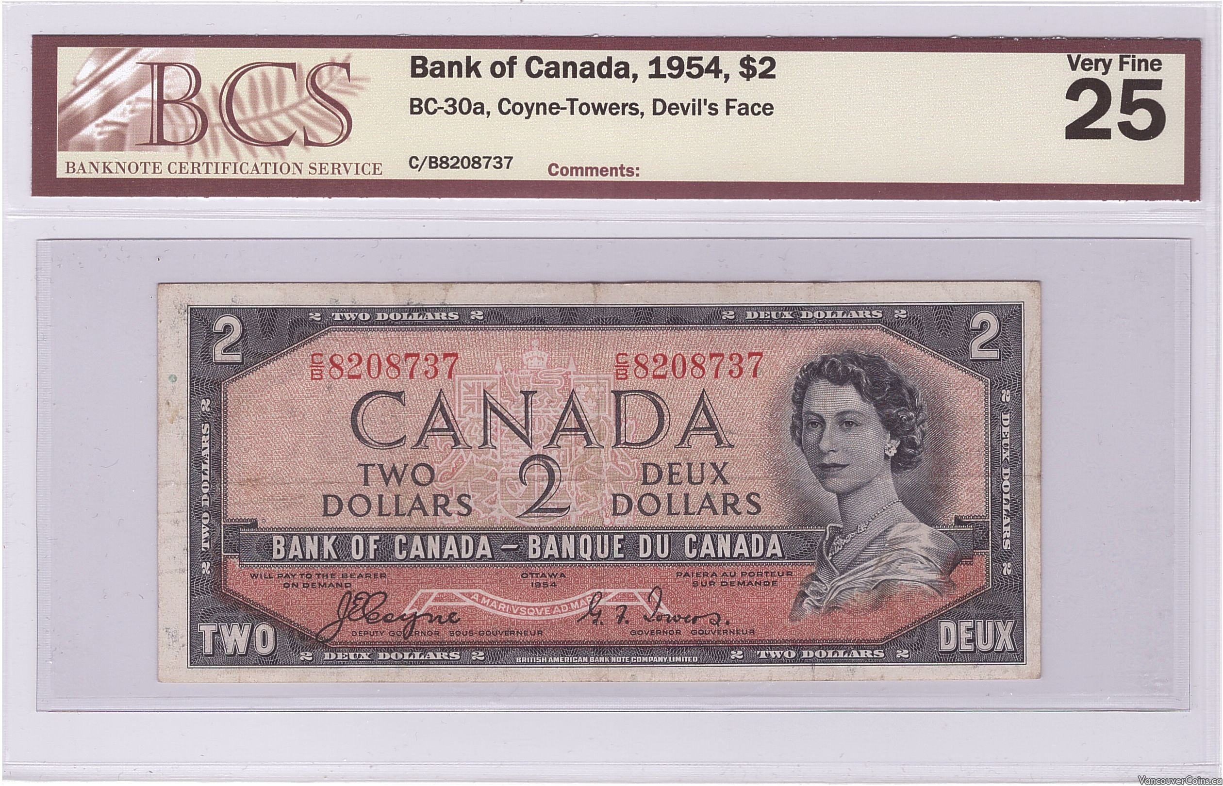 1954 $2.00 VF-25