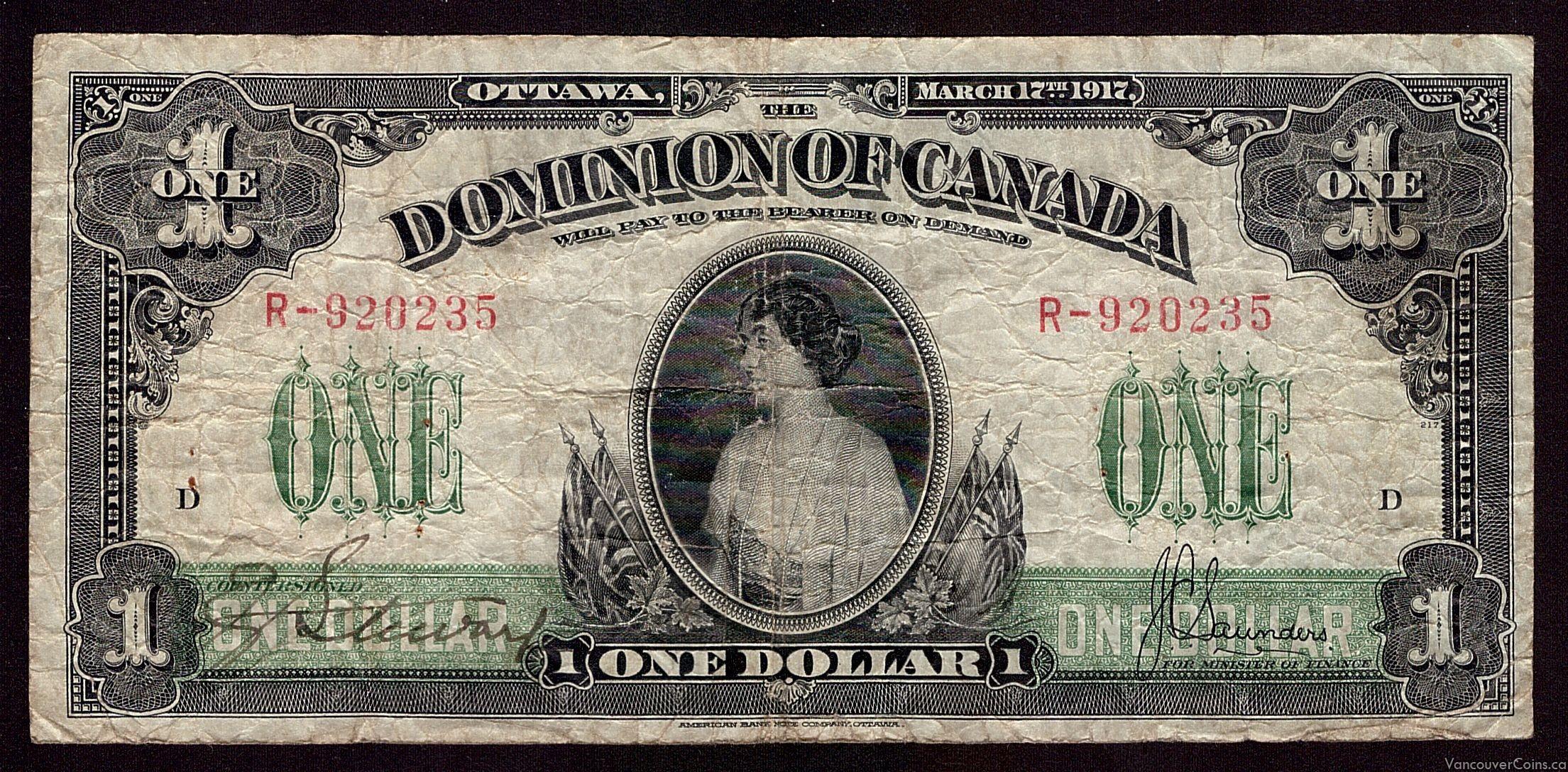1917 Canada $1 dollar banknote Princess Patricia VF20