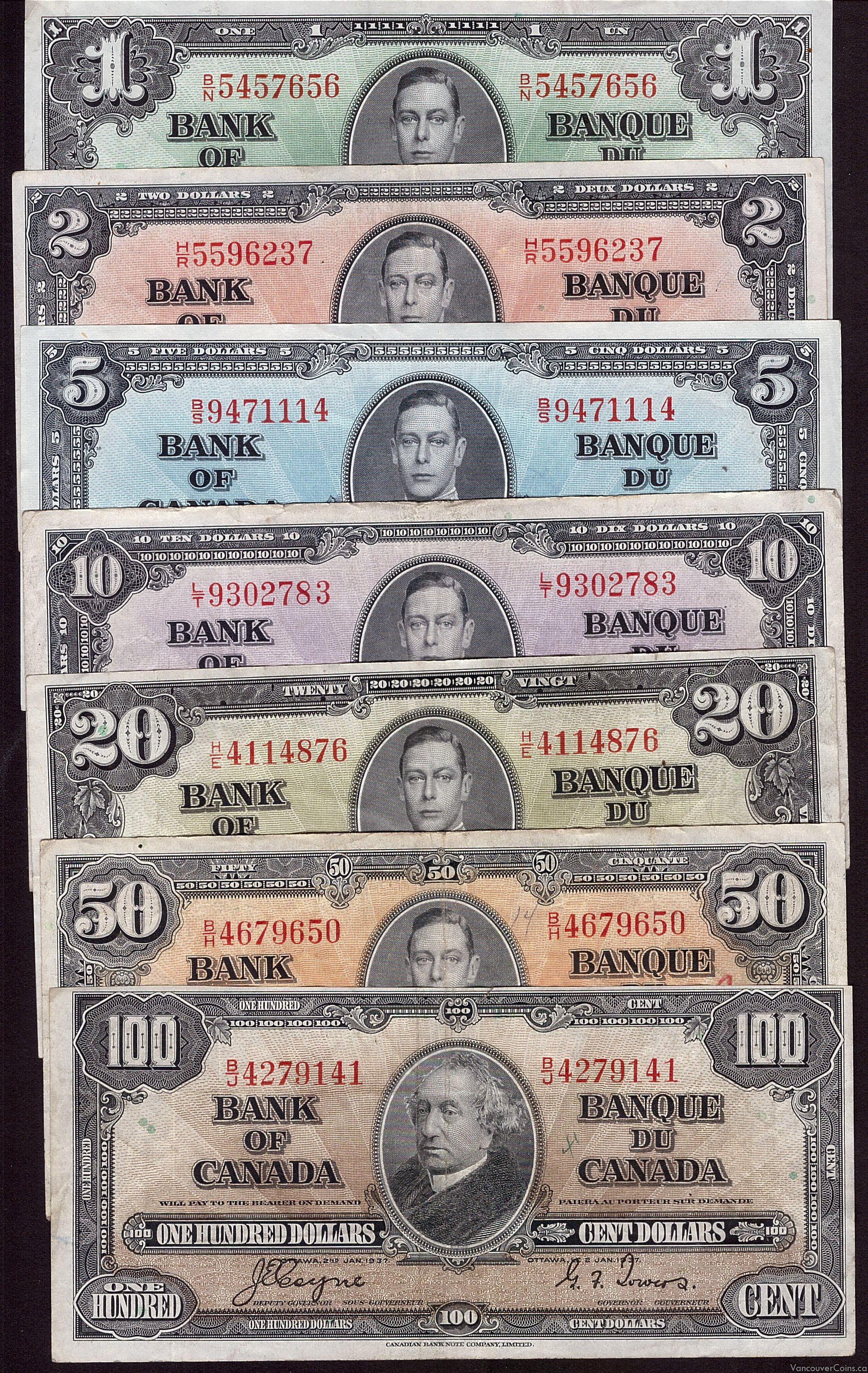 1937 Bank of Canada $1 $2 $5 $10 $20 $50 $100 7-notes