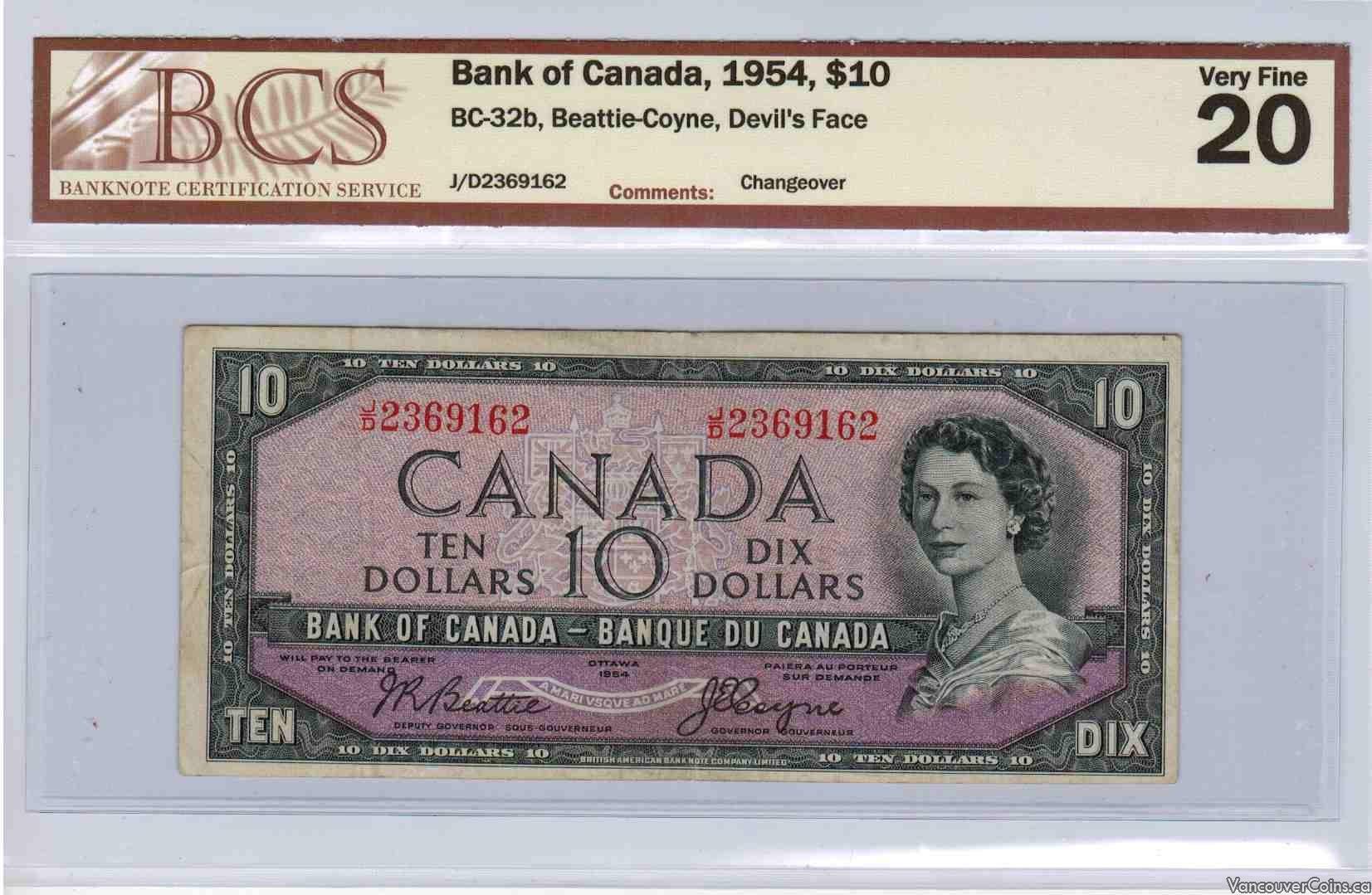 1954 $10.00 VF-20
