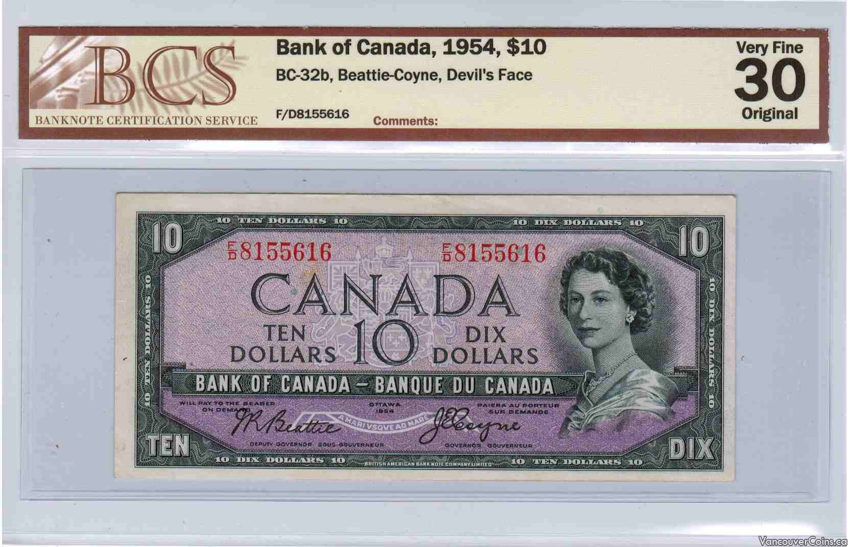 1954 $10.00 VF-30