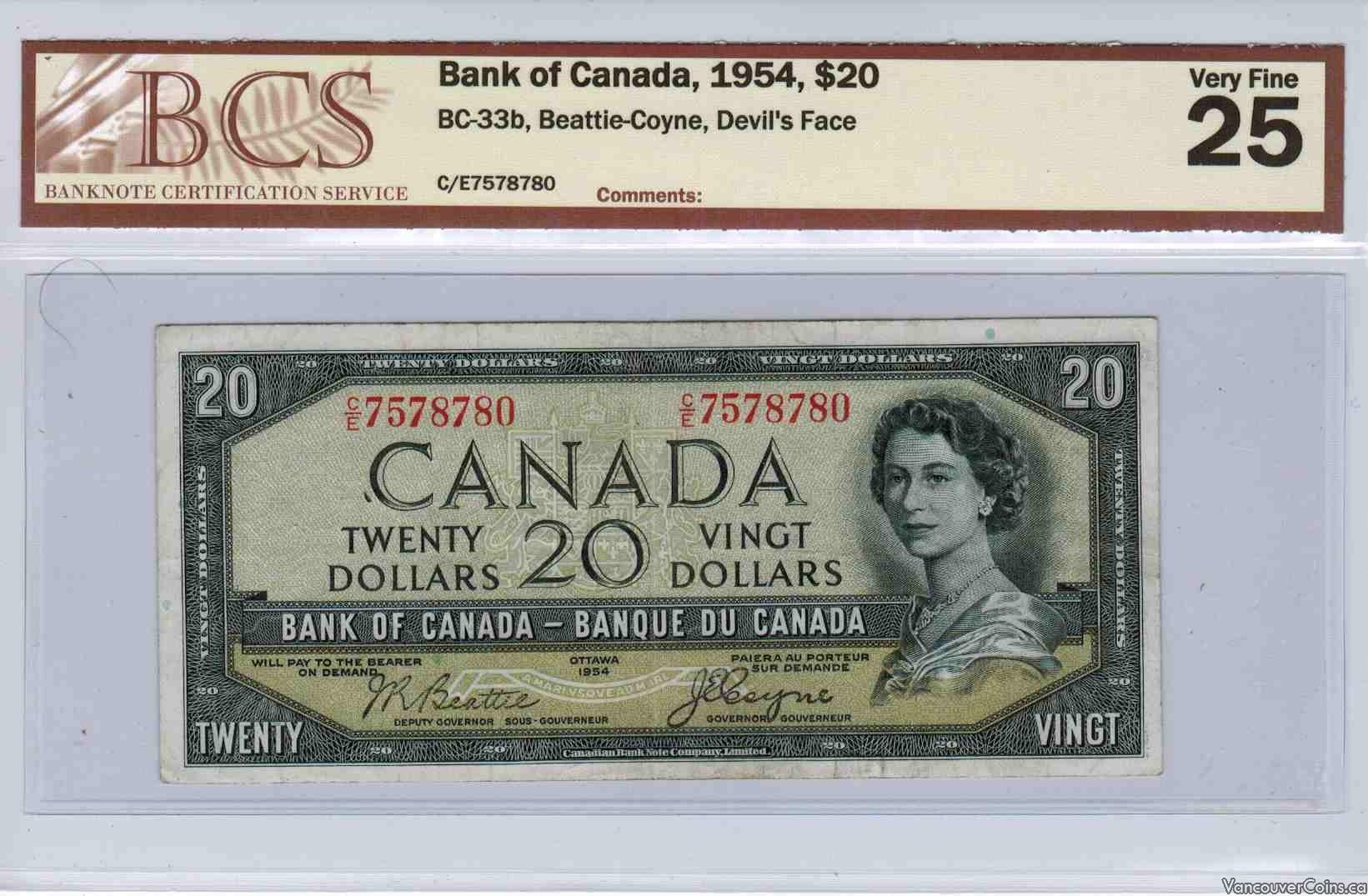 1954 $20.00 VF-25