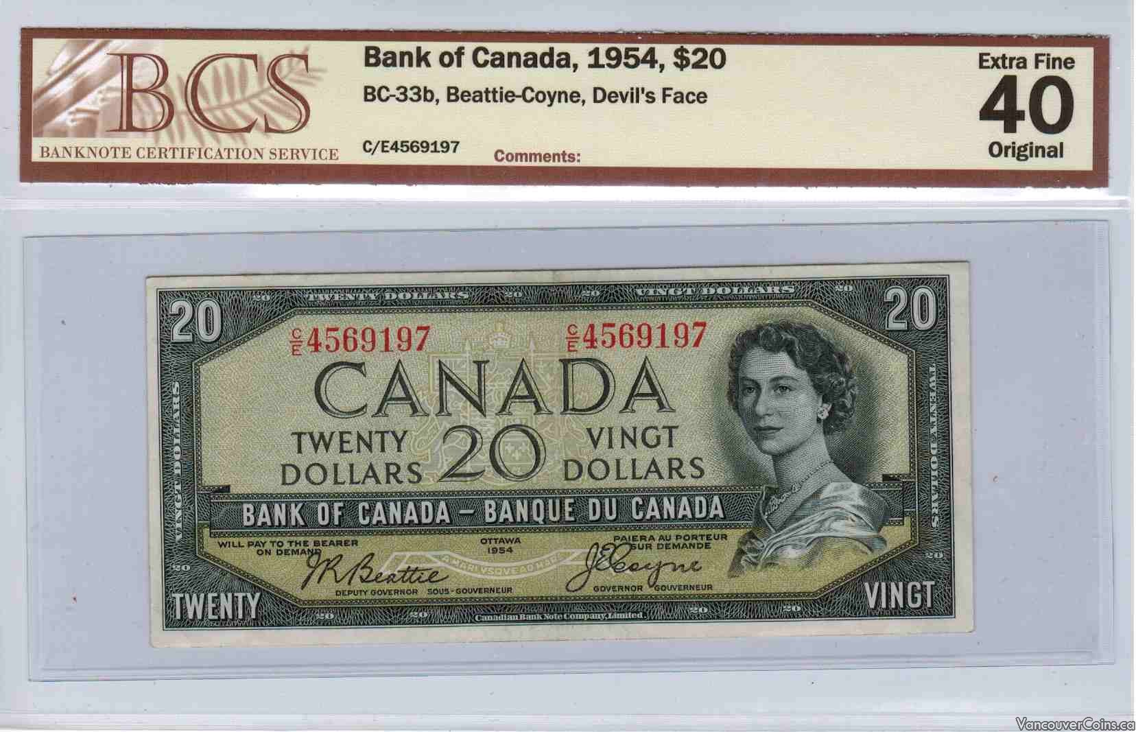 1954 Bank of Canada $20 BCS EF40
