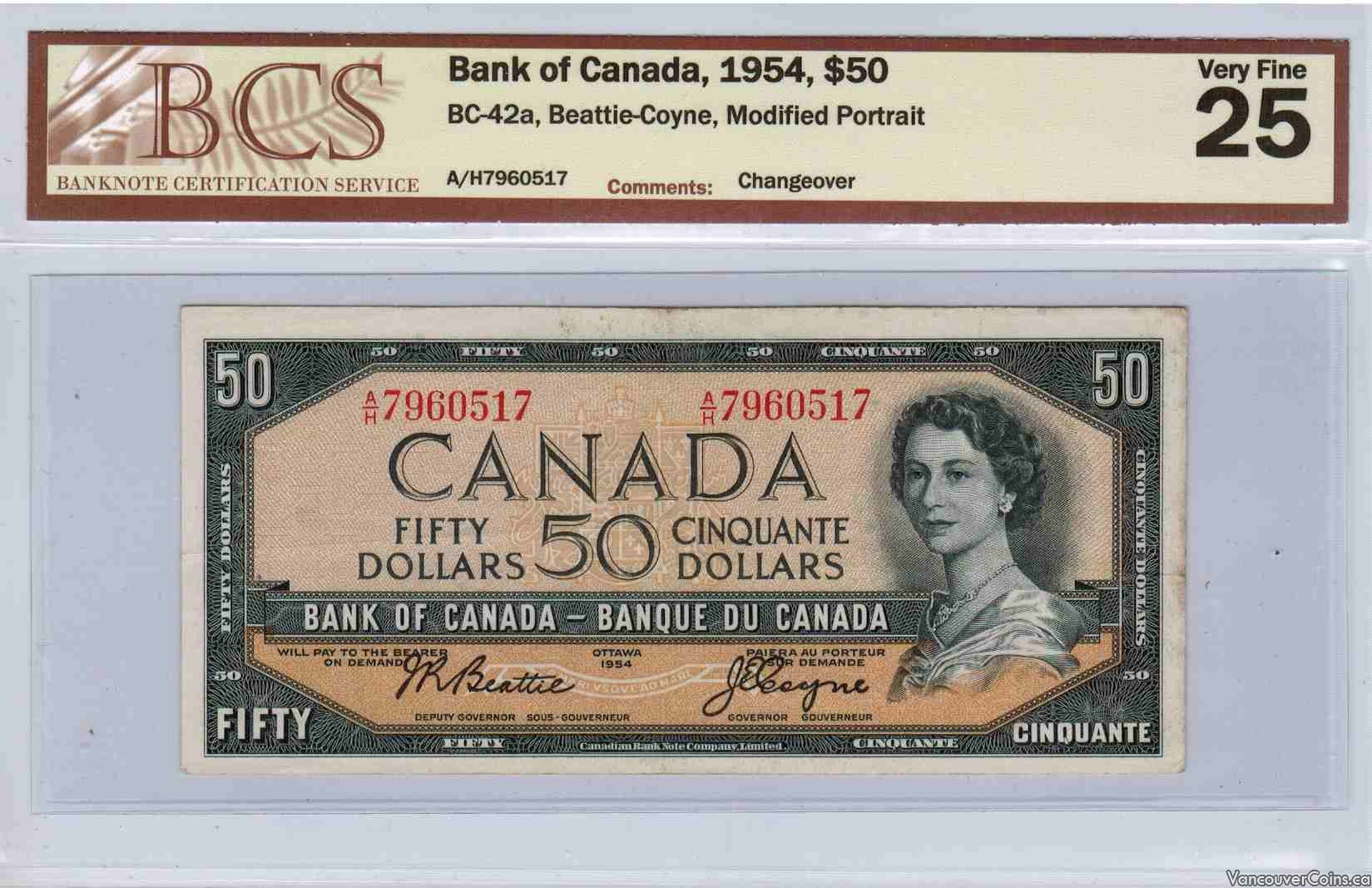 1954 $50.00 VF-25