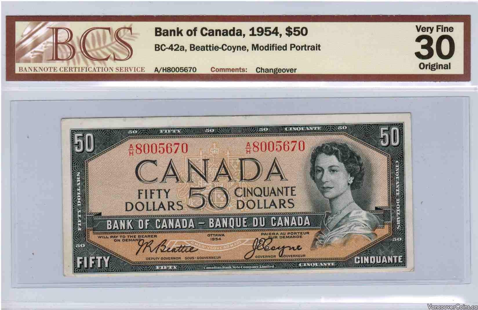 1954 $50.00 VF-30