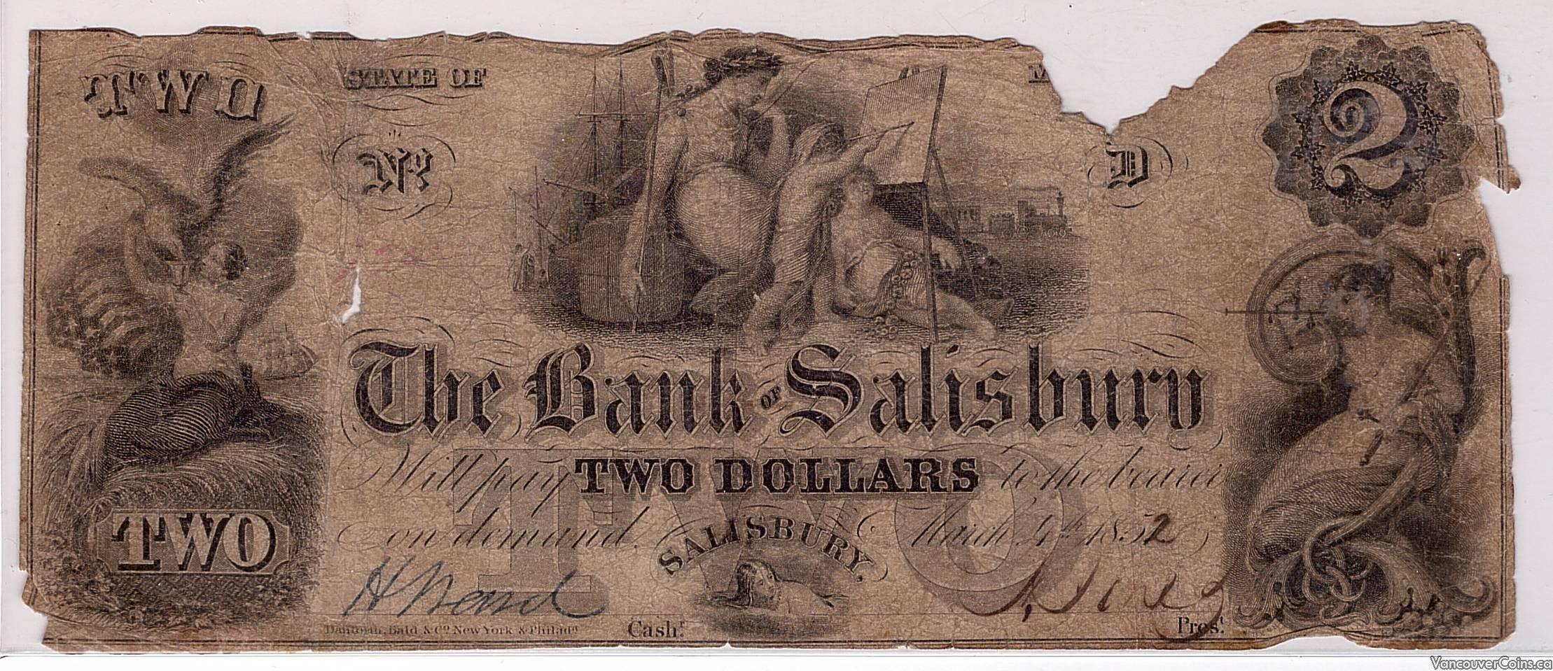USA $2.00 The Bank of Salisbury March 4th 1852