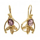 14K Yellow Gold Diamond Amethyst Earrings