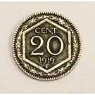 1919 R Italy 20 Centesimi coin EF45