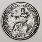 WE-8A6 Wellington 1814 Half Penny token lacquered long ago