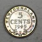 Newfoundland 5 cents silver 1945 choice AU58