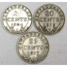 Newfoundland 1904H 20 cents rev. scratches 1912 20 cents & 1917 25 cents VG10
