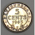 1945c Newfoundland 5 cents silver coin choice MS63