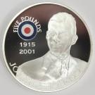 2008 St Helena Ascension £5 coin .925 RAF JOHNNIE JOHNSON