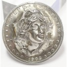 1902 Morgan Silver Dollar Repousse Pop Out Coin brooch
