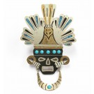 Mexico Piedra Negra sterling turquoise brooch