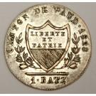 1828 Switzerland Canton Vaud 1 Batzen KM20 VF/EF