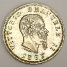 1867 M BN Italy 1 Lire silver coin AU50
