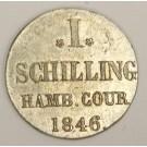 1846 German States Hamburg 1 Schilling silver coin KM566 MS63
