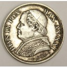 1866 XXIR Italy Papal States 1 Lira silver coin KM1378 EF40