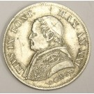 1866 XXIR Italy Papal States 1 Lira silver coin KM1377 EF45