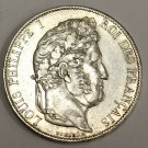 1844 A Paris France 5 Francs silver coin Louis Philippe I  AU50