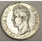1828 M France Toulouse 5 Francs silver coin Charles X VF30