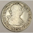 1784 FF Mexico 2 Reales silver coin