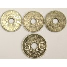 France 5 Centimes 1920 1930 1936 and 1939 4-coins