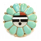 Zuni Turquoise and 14K solid Gold Pendant IULEA