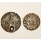 German States 1853 Prussia 2 Pfennig with hole & 1860 Nassau 1 Pfennig