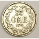 1874 ST Sweden 25 Ore silver coin KM738 EF40