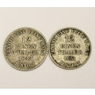 1843 S and 1851 B German States Hannover 1/12 silver Thalers