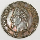 1862 BB France 2-Centimes coin AU58