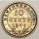 1944c Newfoundland 10 Cents Choice AU55