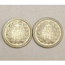 1918 and 1919 Netherlands 10 cents 2-coins EF